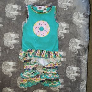 Turquoise and Pink Donut outfit